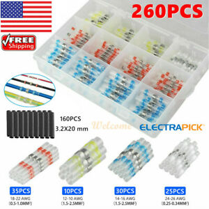 260x Solder Sleeve Heat Shrink Wire Butt Splice Connectors Waterproof Terminals
