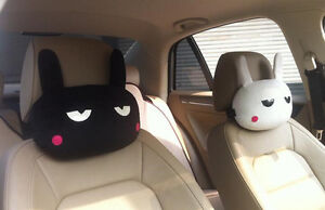 2pcs Cute Rabbit Pillow Car Neck Rest Headrest Pillow Overtime Rabbit