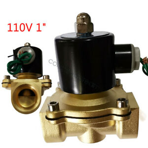 1 Inch Brass Electric Solenoid Valve Semi direct Acting Water Air Gas Fuel Npt