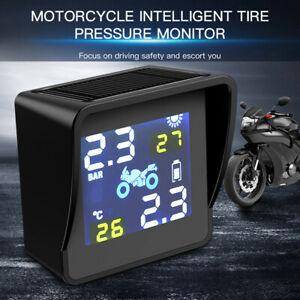 Solar Motorcycle Tpms Tire Pressure Monitoring Alarm System With 2 Sensors Usa