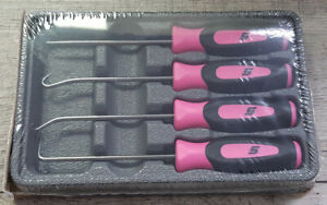 New Snap On Sgasa204c 4 Pc Soft Grip Pink Mini Awl Hook Pic Set Mother s Day