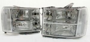 For 2007 2013 Gmc Sierra Complete Direct Replacement Headlight Set Clear Lens