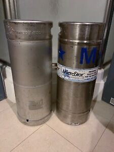 Two 1 6 Barrels Used Empty Beer Kegs Stainless Steel 5 16 Gallon Each