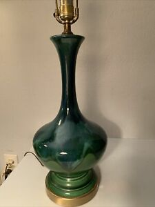 Mid Century Modern Mcm Vintage Blue Green Tall Drip Glaze Table Lamp