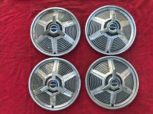 Set Of 4 1964 1 2 To 1965 Ford Mustang Spinner Hubcaps 14 Inch Oem Original