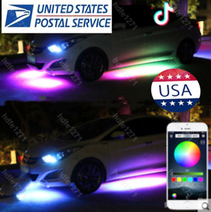 4x Rgb Led Underbody Car Neon Light Chassis Atmosphere Lamp Light App Control