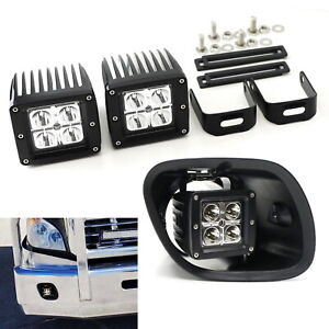 20w Led Pod Fog Light Kit W brackets Wiring For 2008 2017 Freightliner Cascadia