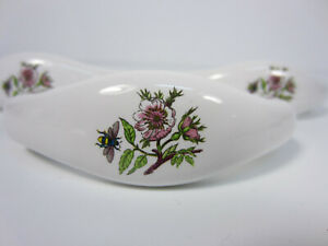 3 Porcelain Drawer Pulls With Bees And Flowers Pattern