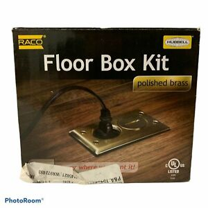 Raco Hubbell Floor Box Kit Polished Brass Plug Outlet Protection