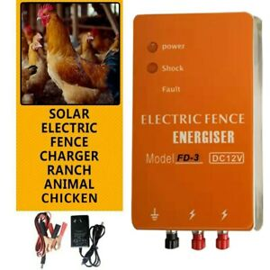 3km Solar Electric Fence Energizer Charger Animals Chicken Shelter Farming Fence