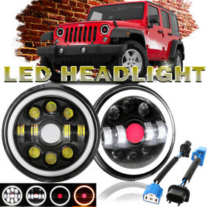 For 97 18 Jeep Wrangler Jk Tj 2x 7 Round Led Headlights Drl Red Spot Angel Eyes