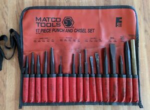 Matco Tools 16 Piece Punch And Chisel Set Spl17ka With Cloth Carrying Wrap