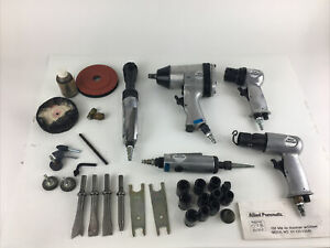 Lot Of 5 Allied Pneumatic Air Impact Tools Kit Impact Drive Wrench Attachments