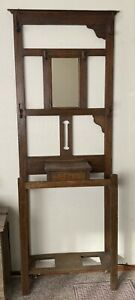 Vintage American Oak Hall Tree With Glove Box And Shoe Rack Bevelled Mirror
