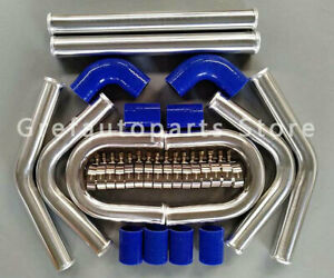 2 51mm Aluminum Universal Intercooler Turbo Piping Pipe Kit Blue Hose Kits