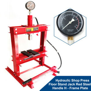 10ton Hydraulic Shop Floor Press H Frame Jack Stand With Gauge Heavy Duty Sale