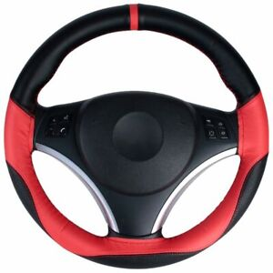 Red Car Steering Wheel Cover Sports Non Slip Breathable Leather Pu 14 5 15in