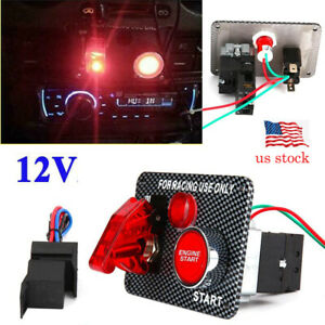 New Ignition Switch Panel Engine Start Starter Push Button Led Toggle Racing Car