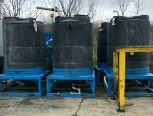 Vertical Cone Bottom Water Tank Lot With Steel Stands 500 Gallons Black Poly
