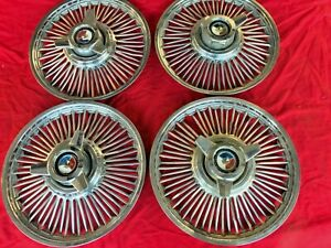1965 1966 Ford Fairlane Galaxie Mustang 14 Wire Wheel Spinner Hubcaps Set