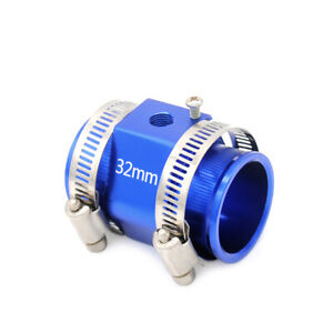 Anodized Finish Water Temperature Sensor Adapter Joint Pipe 32mm Blue