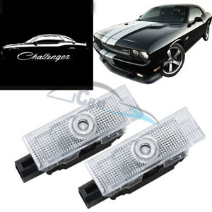 2x No Fading Led Door Projector Light For Dodge Challenger 2008 2020 Pure White