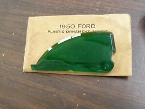 Nos 1950 Ford Accessory Hood Ornament Insert Green
