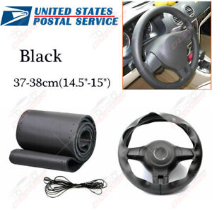 Black Genuine Leather Diy Car Steering Wheel Cover With Needles And Thread New W