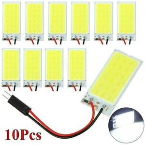 10pcs Car Interior Panel Lights Dome Bulb White 48 Smd Cob Led T10 4w 12v New