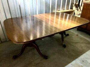 20th Century Double Pedestal Extending Mahogany Dining Table