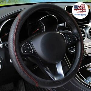 Black Red Leather Car Steering Wheel Cover Pu Universal Fits Honda Bmw Jeep Audi