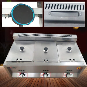 3 Pan Commercial Gas Fryer Restaurant Stainless Steel Natural Gas Deep Fryer