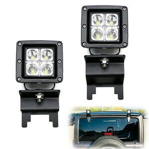 Rear Window Roof Mount 20w Led Pod Lights For 07 up Jeep Wrangler Jk Jl Hardtop