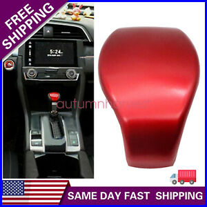 For Honda Civic 2016 2020 Sporty Red Abs Car Inner Gear Shift Knob Cover Trim