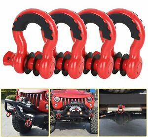 4pcs 3 4 D ring Red Bow Shackles W Black Isolators Washer Clevis Kit 4 75 Ton