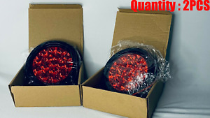 4 Inch Round Red Led Trailer Tail Light 3 Wired Bundle 2 Pieces Of Lights
