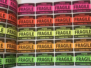 20 2x3 Fragile Neon Self Adhesive Handle With Care Stickers Shipping Label