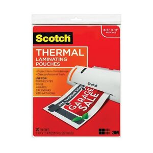 Scotch Thermal Laminating Pouches 8 9 X 11 4 inches 20 pack New