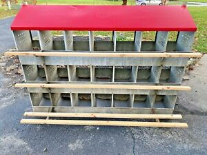 Antique Vintage Galvanized Rare Keenco 21 Hole Chicken Poultry Nesting Box