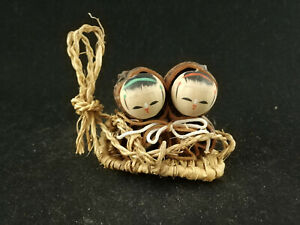 Two Children Kokeshi On A Sled Japanese Wooden Doll Ca 7 Cm