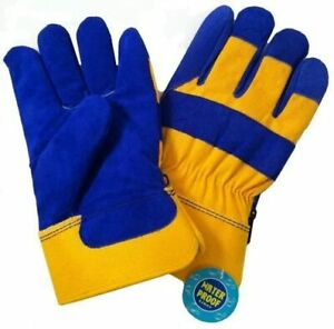 Blue Yellow Thermal Lined Waterproof Leather Palm Safety Cuff