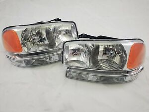 2000 2006 Gmc Yukon sierra Direct Replacement Headlight Set W Bumper Lights