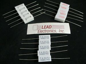 Qty5 Resistor 5 watt Axial Leads Cement Filled Ohms Choice Value