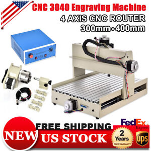 400w 4 Axis 3040 Cnc Router Engraver Machine Carving Woodworking Pcb Mill Drill