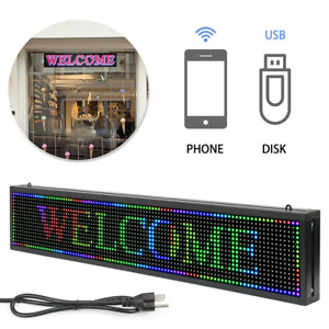 1set 40x8 Inch Full Color Led Sign Programmable Scrolling Message Display Banner