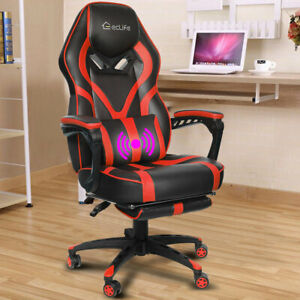 Gaming Chair Ergonomic Office Computer Racing Pu High Back Footrest Massage Red