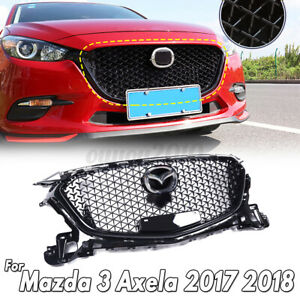 For Mazda 3 Axela 2017 2018 Abs Plastic Black Front Bumper Grill Grille Upper