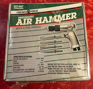 Vintage Chicago Forge Pneumatic Air Hammer W Chisels 4500 Bpm Brand New Sealed