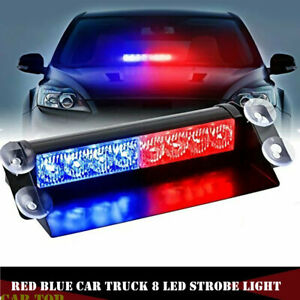 8 Led White Blue Strobe Dash Emergency Flash Warning Windsheild Light Car Truck