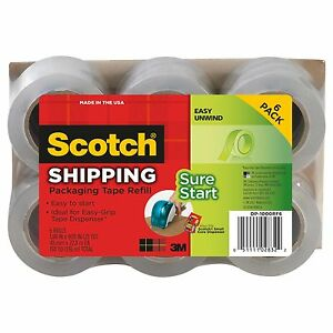 6 Refill Rolls Scotch 3m Easy grip Packing Tape Sealing Shipping Clear Packing
